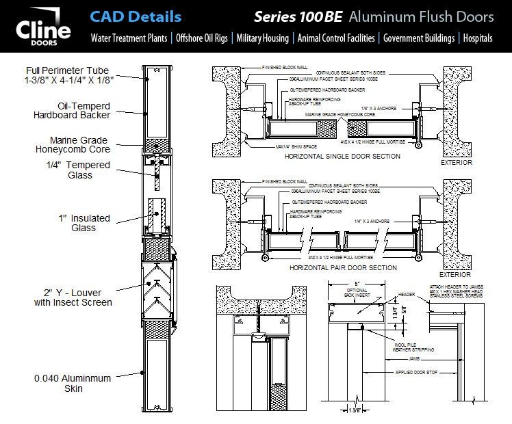 Flush Door Plan Elevation Section : Cline aluminum doors frp screen stile and